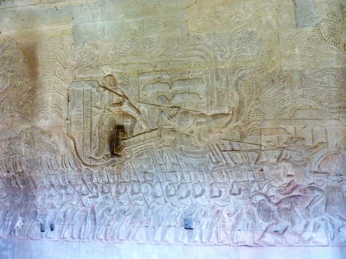 Bas-reliefs of Angkor Wat. Southern gallery, West part. Historical Gallery of Suryavarman II.